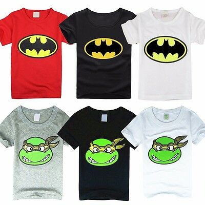 Kids Cartoon T shirt Baby Boys Short Sleeve Batman TMNT Summer Tee Tops 1-7Y