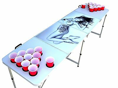 Sexy Naked Tattoo girl suicide girl beer pong table WITH predrilled cup HOLES