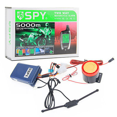LCD Motorcycle Scooter Alarm System+ 2 Way Remote Engine Start Microwave Sensor