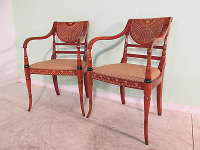 Vintage Pair Of Regency Style Hand Painted Mahogany Armchairs