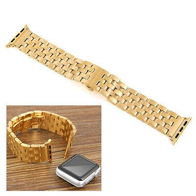 Luxury Gold Stainless Steel Watch Band Bracelet Strap for 42mm Apple iWatch