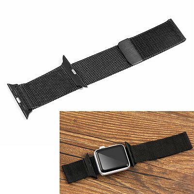 Black Milanese Magnetic Loop Stainless Steel Watch Band for 38mm Apple iWatch
