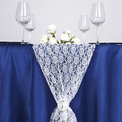"""WHITE Floral Lace 14"""" x 108"""" TABLE RUNNER Wedding Party Catering Decorations"""