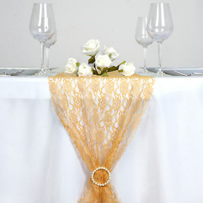 """GOLD Floral Lace 14"""" x 108"""" TABLE RUNNER Wedding Catering Dinner Decorations"""