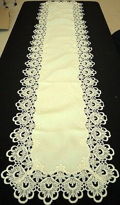 Long Handmade Thick Lace Table Runner Vintage Cream Color 42cm x 180cm
