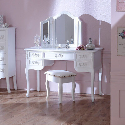 Antique White Dressing Table Desk triple mirror stool french bedroom furniture
