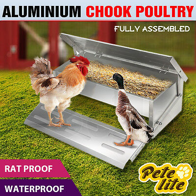 Petelite Chicken Feeder treadle Aluminium Chook Poultry-FULLY ASSEMBLED