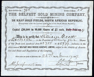 South Africa: Belfast Gold Mining Co., £1 shares, 1886