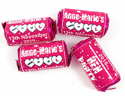 20 Personalised Mini Love Heart Hen Do Party Weekend Pink White WRAPPERS ONLY