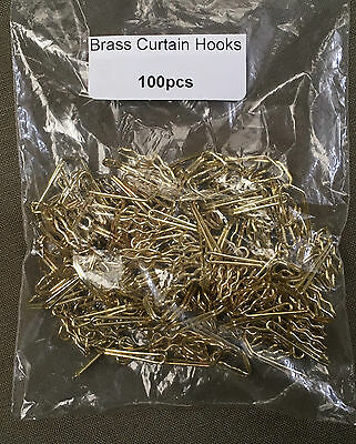 100 x BRASS CURTAIN TAPE HOOKS ~ STRONG SOLID METAL ~ PLEAT HOOKS