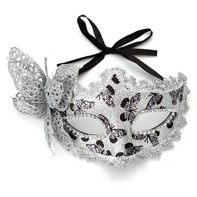 Mask Masquerade Costume Prop Silver Halloween Fancy Dress Ball Party Xmas S*