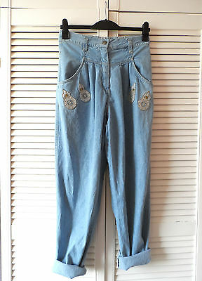 Vintage 90s High Waisted Baggy Tapered Patch Retro Applique Mom Hip Hop Jeans 12