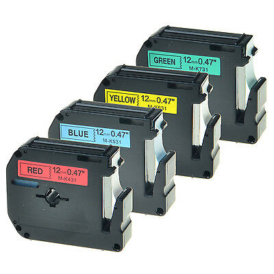4PK Black Print Tape For Brother P-touch M-K MK431 531 631 731 12mm Label Maker