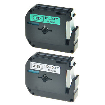 2PK Black on White/Green Tape for Brother Ptouch M-K231 M-K731 12mm Label Maker