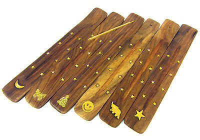 """Wooden Incense Holder Ash Catcher Stick Buddha Moon Butterfly Inlay 10"""""""