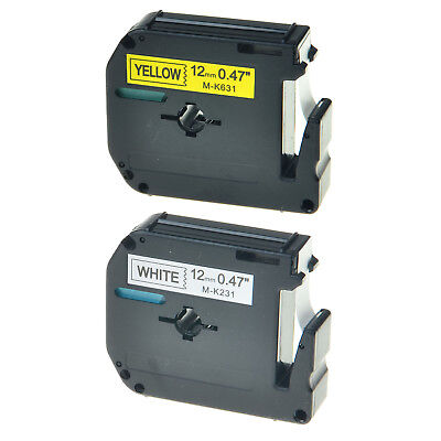 2PK Black on White/Yellow Tape for Brother Ptouch M-K231 M-K631 12mm Label Maker