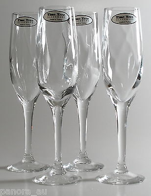 Time Tree Handmade Flute Champagne Turkish Glass Optical Ribbed 180mL (Set of 4)