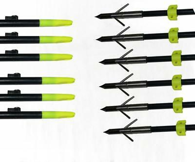 6x 8mm Archery Bow Fishing Arrow 34'' with Broadheads and Safety Slides Hunting