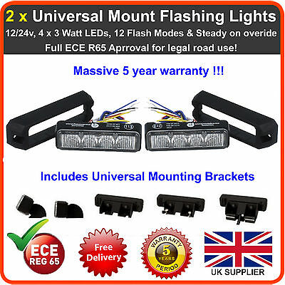 2 x Universal Mount 4LED Grill Lights Like Premier Hazard Lightbar Beacon