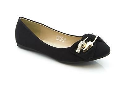 c03650842490 NEW WOMENS FLAT Pumps Ladies Patent Ballet Ballerina Dolly Bow Shoes ...