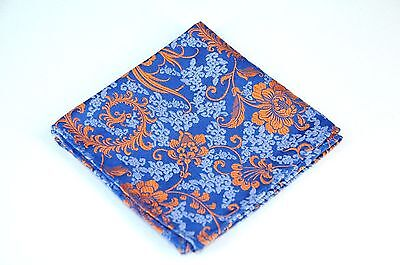 Lord R Colton Masterworks Pocket Square - Kyoto Blue Rust Floral Silk - $75 New