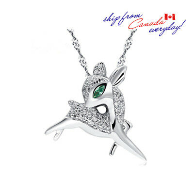 S925 Sterling Silver Adorable Deer/Reindeer Pendant W/ or W/O Chain