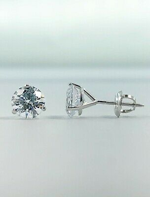 3 Ct Round Earrings Studs Martini Real 14K White Gold Brilliant Cut Screw Back