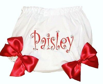 Personalized Red Curlz with Stars Baby Girl Diaper Cover Bloomer Free Ship