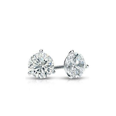 1 Ct Round Earrings Studs Martini Real 18K White Gold Brilliant Cut Screw Back