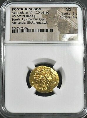 Aphrodite- Ancient Pontic Kingdom Gold Stater Of Alexander Iii, Mithradates Vi