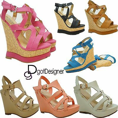 218ec9429f Women's Cute Strappy Low Wedge Open Toe Platform Fashion Sandal Shoes Size 5 -10