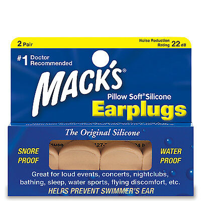 Learn to Swim ADULT 2 Pair MOLDABLE PUTTY MACK'S Swimming PILLOW SOFT Ear Plug 8
