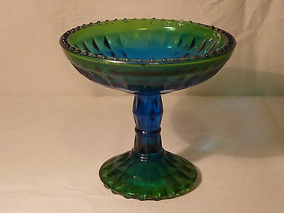 Jeannette Glass Antique Classic Blue & Green Iridescent Footed Compote