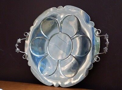 Vintage Primrose Plate silver on copper grape handled round platter tray