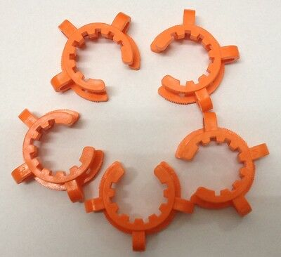 Lot of 5 KECK CLIPS GROUND GLASS CONNECTORS , JOINT CLIPS, Orange,  Size 34/45