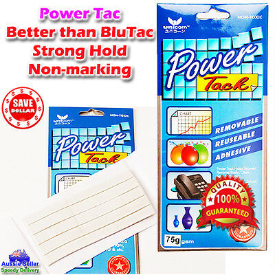 75g White Blue Blu Power Tack Tak Rubber Adhesive Reusable double sided Tape
