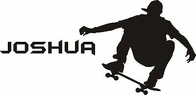 Personalised Skateboarder Wall Art Sticker/Vinyl Decal ADD YOUR OWN NAME