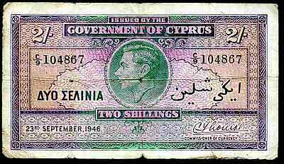 Cyprus. Two Shillings, C/9 104867, 23-9-1946, Nearly Fine.