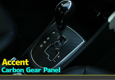 3D Black Carbon Gearbox Panel Decals Stickers for Hyundai 2011+ Accent / Solaris