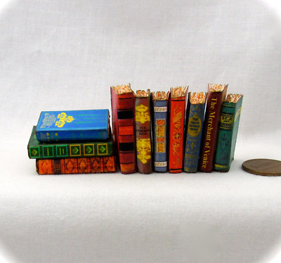 1:6 Scale VINTAGE STYLE BOOKS Set of 10 Prop Books Miniature Book Play Scale