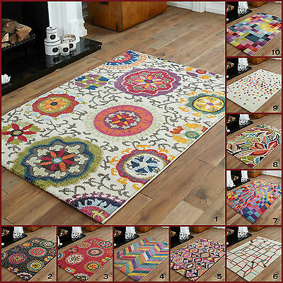 Modern Large 10-12 Mm Bright Funky Geometric Shapes Multi Colours Clearance Rugs