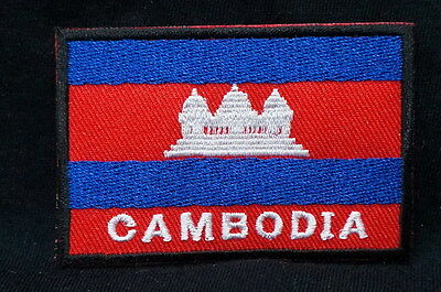 "CAMBODIA FLAG EMBLEM PATCH SEW ON EASY TO USE 2""x3"""