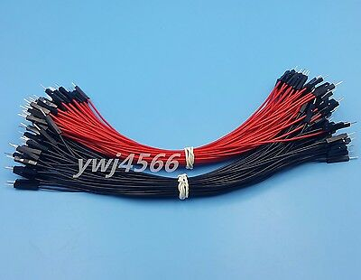 100Pcs 2.54mm 1P-1P Male to Male Dupont Wire 20cm Jumper Red & Black