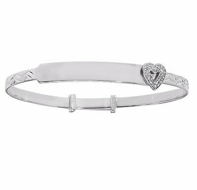 925 Sterling Silver Childrens Baby ID Christening Bangle Free Engraving 5.5""