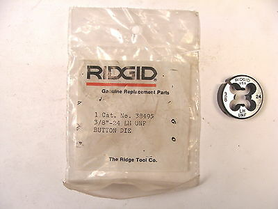 "NOS RIDGID USA 3/8"" LH 24 UNF Button Die #38395"