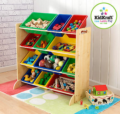 KidKraft Wooden Sort it & Store it Bin Unit Toy Storage Cabinet Box 16774