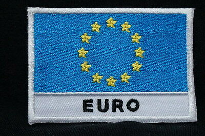 "EURO - FLAG EMBLEM PATCH SEW ON EASY TO USE 2""x3"""