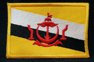 "BRUNEI - FLAG EMBLEM PATCH SEW ON EASY TO USE 2""x3"""