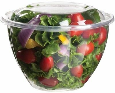"150 ct. 48 oz. Clear Salad Bowls w/ Lids Clear Heavy Duty ""Salad to Go"" CLOSEOUT"
