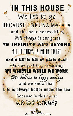 We Do Disney In This House Quote on CANVAS WALL ART Picture Print Sepia / Cream